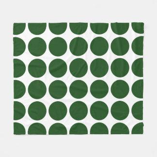 Green Polka Dots on White Fleece Blanket