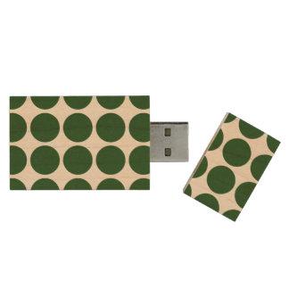 Green Polka Dots on White Wood USB 3.0 Flash Drive