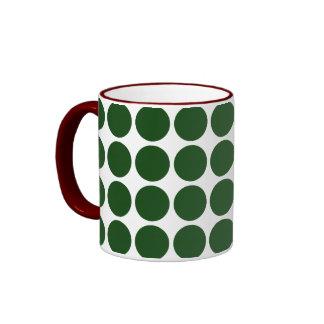 Green Polka Dots on White Coffee Mug