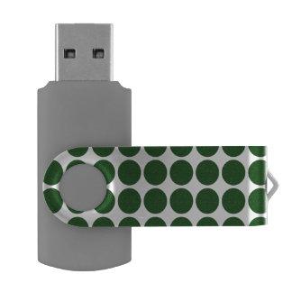 Green Polka Dots on White Swivel USB 3.0 Flash Drive