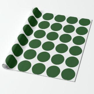 Green Polka Dots on White Gift Wrap