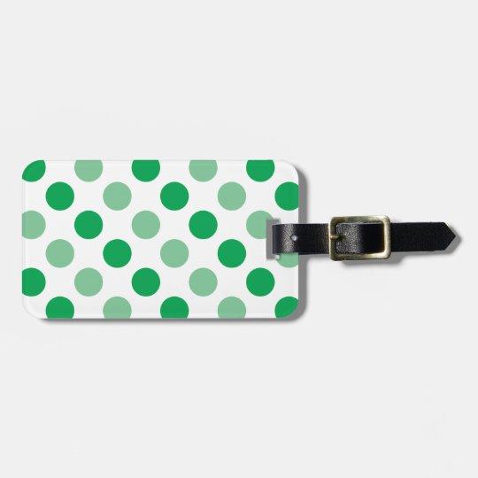Green polka dots pattern bag tag