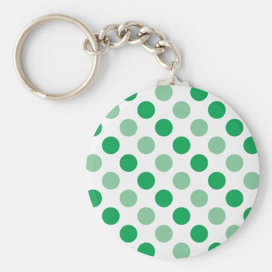 Green polka dots pattern basic round button key ring