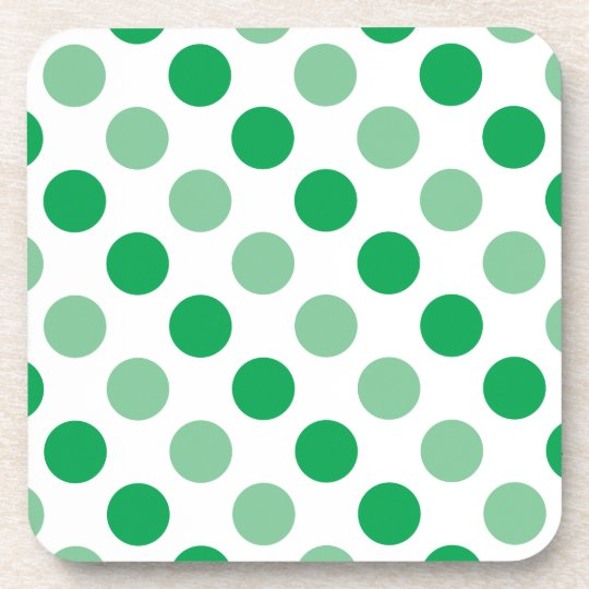 Green polka dots pattern beverage coasters