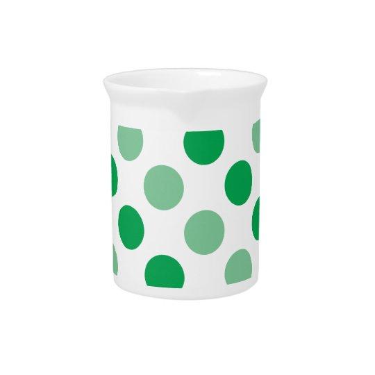 Green polka dots pattern beverage pitcher