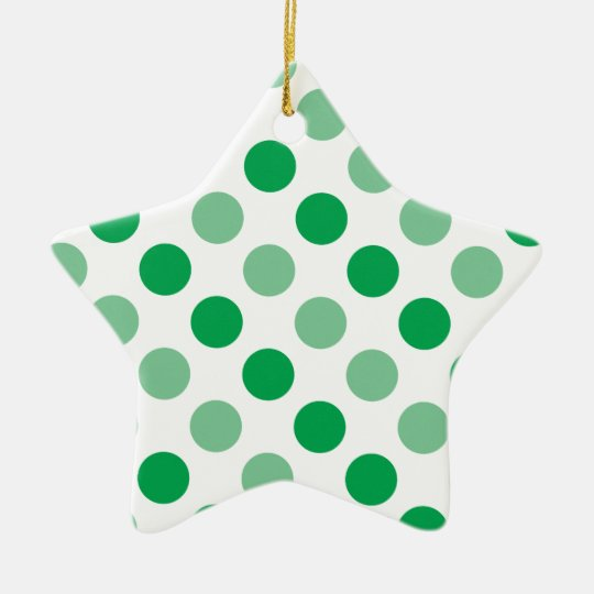 Green polka dots pattern ceramic star decoration