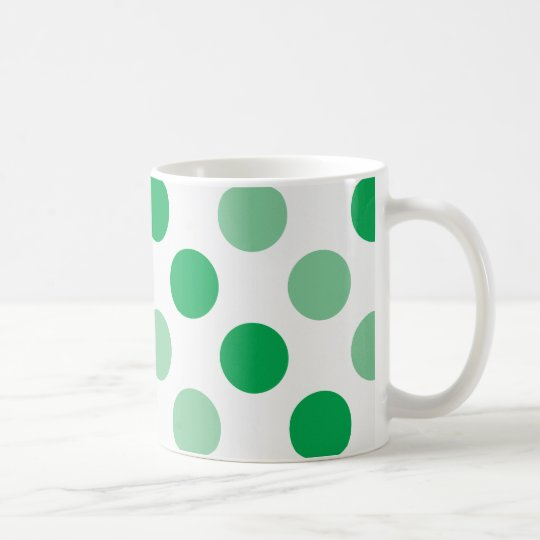 Green polka dots pattern coffee mug
