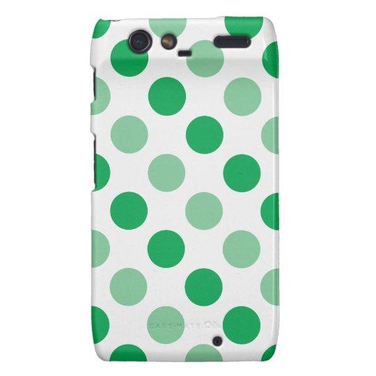 Green polka dots pattern droid RAZR covers
