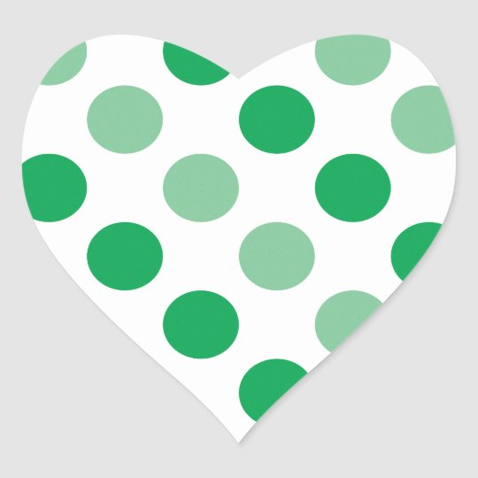 Green polka dots pattern heart sticker