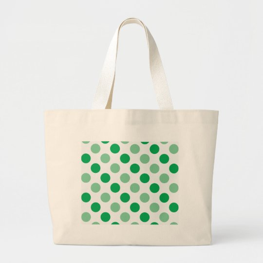 Green polka dots pattern large tote bag
