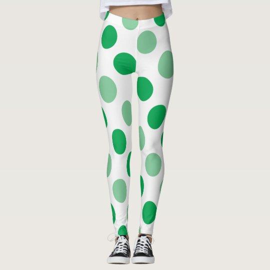 Green polka dots pattern leggings
