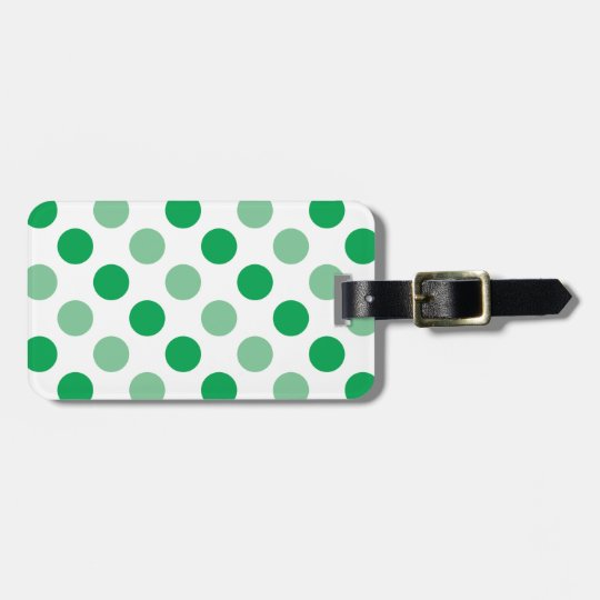 Green polka dots pattern luggage tag