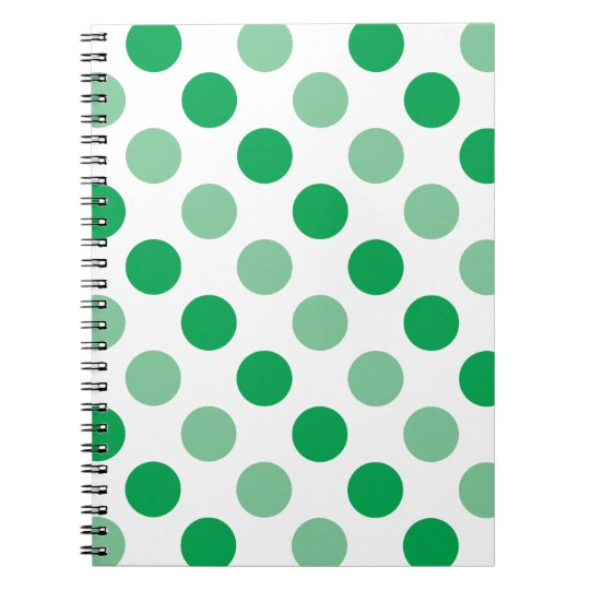 Green polka dots pattern notebook