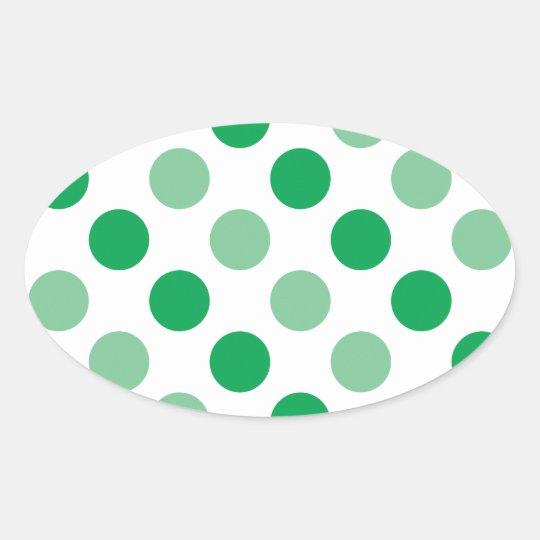 Green polka dots pattern oval sticker