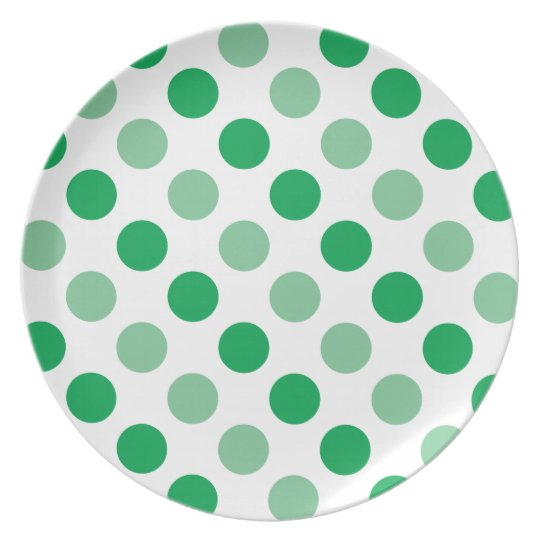 Green polka dots pattern party plates