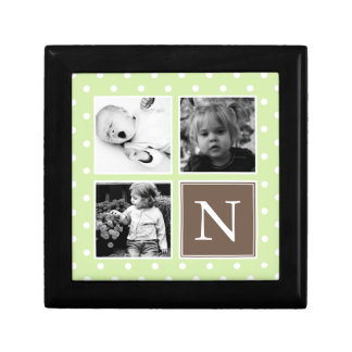 Green Polka Dots Pattern Photo Collage Gift Box