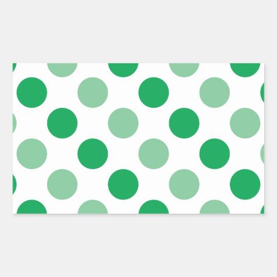 Green polka dots pattern rectangular sticker