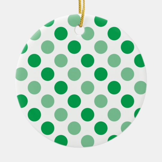 Green polka dots pattern round ceramic decoration