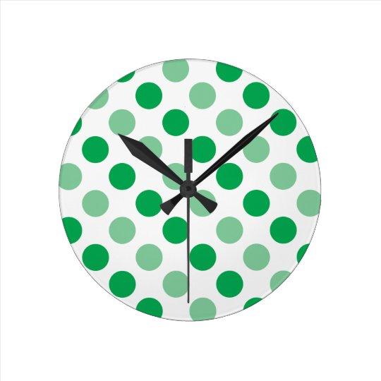 Green polka dots pattern round clock