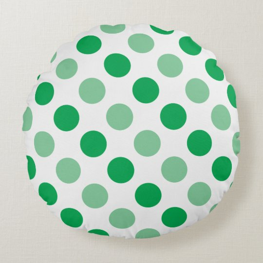 Green polka dots pattern round cushion