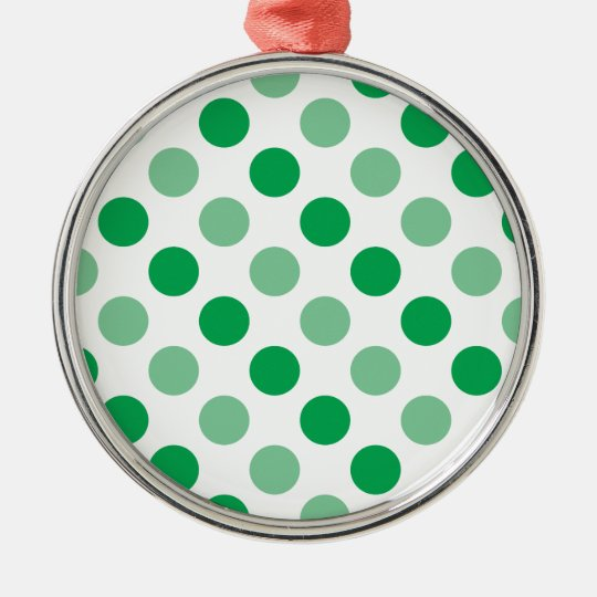 Green polka dots pattern Silver-Colored round decoration