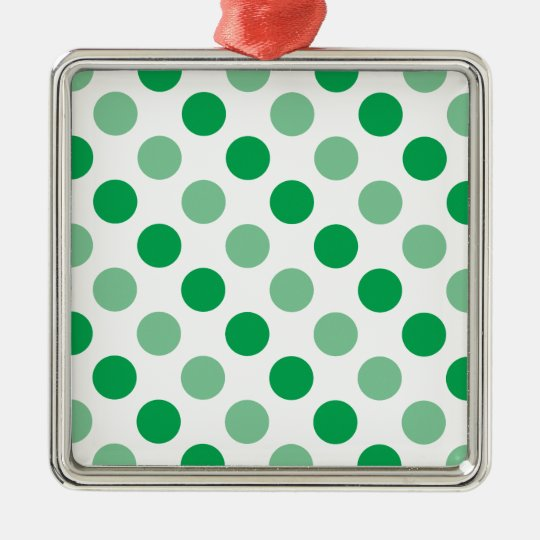 Green polka dots pattern Silver-Colored square decoration