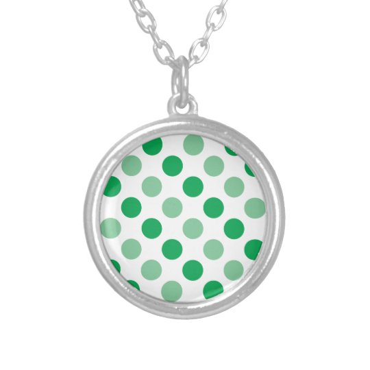 Green polka dots pattern silver plated necklace