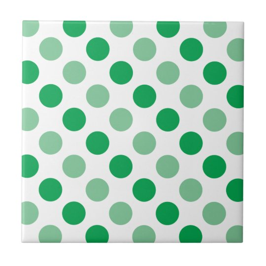 Green polka dots pattern small square tile