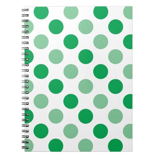 Green polka dots pattern spiral notebook