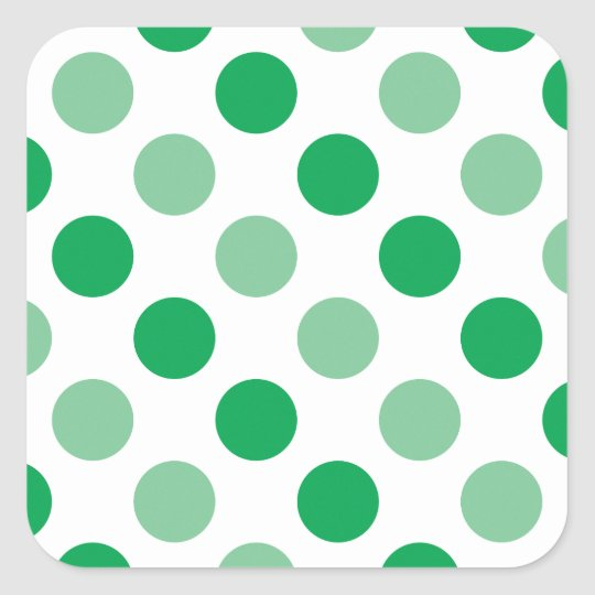Green polka dots pattern square sticker
