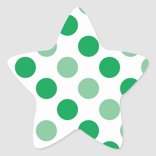 Green polka dots pattern star sticker