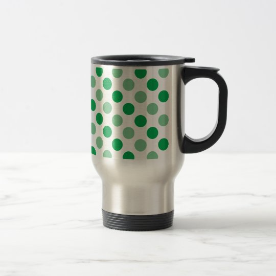 Green polka dots pattern travel mug