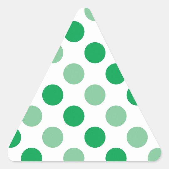 Green polka dots pattern triangle sticker
