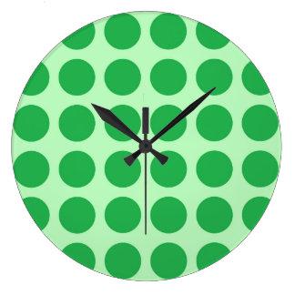 Green Polka Dots Soft Green Large Clock