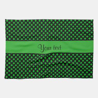 Green Polka Dots Tea Towel