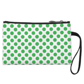 Green Polka Dots Wristlet
