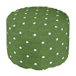 Green Polkadot Golf Ball Pattern Pouf