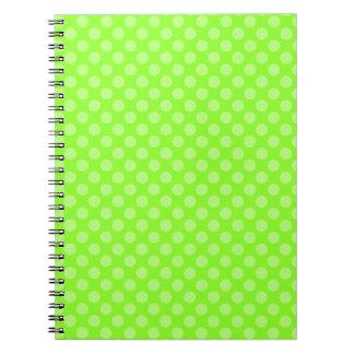 green pollka dots notebook