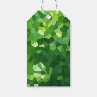 Green Polygon Shape Stained Glass Mosaic Abstract Gift Tags
