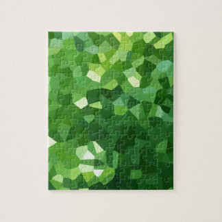 Green Polygon Shape Stained Glass Mosaic Abstract Jigsaw Puzzle