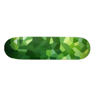 Green Polygon Shape Stained Glass Mosaic Abstract Skateboard