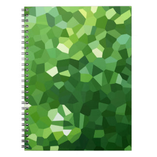 Green Polygon Shape Stained Glass Mosaic Abstract Spiral Notebook