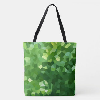 Green Polygon Shape Stained Glass Mosaic Abstract Tote Bag