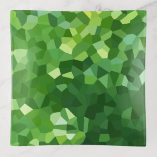 Green Polygon Shape Stained Glass Mosaic Abstract Trinket Trays