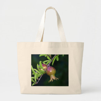 Green pomegranate fruit large tote bag