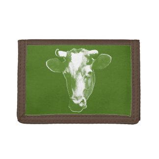 Green Pop Art Cow Tri-fold Wallet