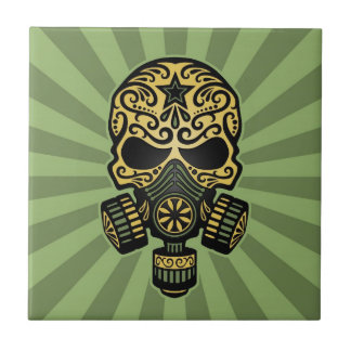 Green Post Apocalyptic Sugar Skull Tile