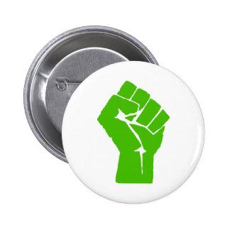 Green power 6 cm round badge
