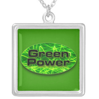 Green Power Square Pendant Necklace