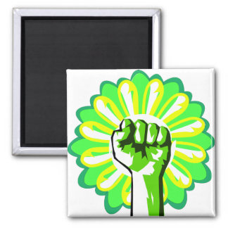 Green Power Square Magnet